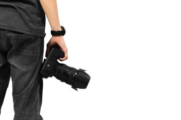 Photographer is holding hand Camera