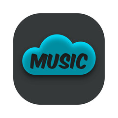 Music Cloud App Icon Vector