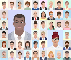 Portraits of different people, African, vector