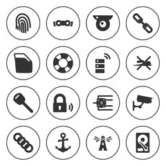 Set of 16 security filled icons