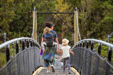 Family Walking at River Suspension Bridge, New Zealand