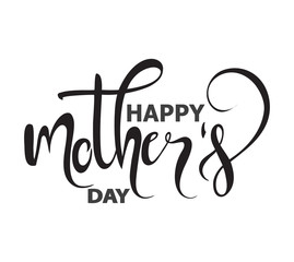 Isolated text Happy Mother's day on white background, vector