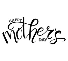 Isolated text Happy Mother's day on white background, vector illustration