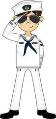 Cute Cartoon Navy Sailor Saluting