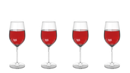3D render of four Pinot noir wine glasses for Passover seder meal isolated on white background