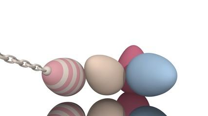 3d-Illustration, Ostereier in Pastelltönen auf spiegelnder Fläche