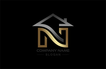 logo letter n building logo in gold and metal color