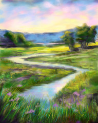 Digital painting of sunny spring landscape on the river. Oil painting style.