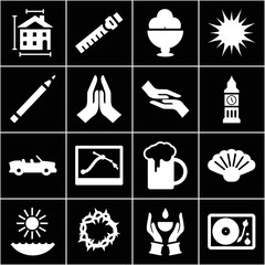 Set of 16 drawing filled icons