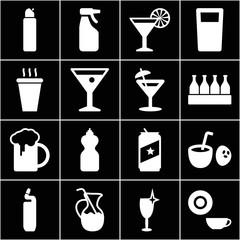 Set of 16 beverage filled icons