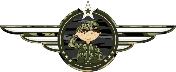 Cute Cartoon Saluting Army Soldier