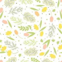 Seamless pattern. Flower spring background. Green branches and leaves, narcissus, mimosa and tulips on a white background, vector illustration.
