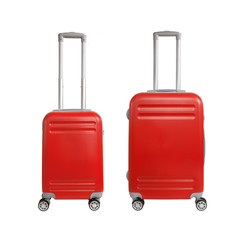 Two suitcases isolated on white background. Polycarbonate suitcases isolated on white. Red suitcases.
