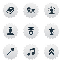 Vector Illustration Set Of Simple Champion Icons. Elements Currency, Postgraduate, Melody And Other Synonyms Melody, Up And Currency.