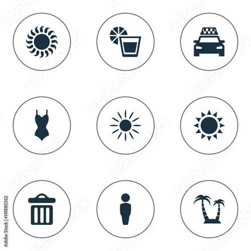 Vector Ilration Set Of Simple Seaside Icons Elements Garbage Sun And Other Synonyms Palm Woman Beachwear