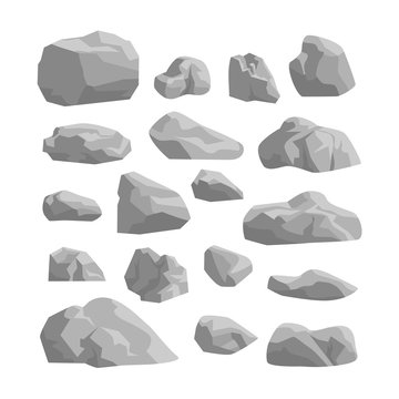 rocks and stones set on white background