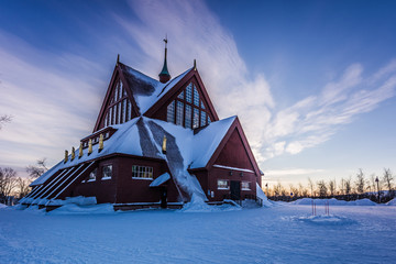 Photo sur Plexiglas Monument Lapland, Sweden - January 29, 2014: The Church of Kiruna, Sweden