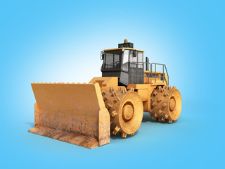 Yellow Bulldozer 3d render Isolated on blue