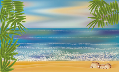 Summer sea tropical shell background, vector illustration