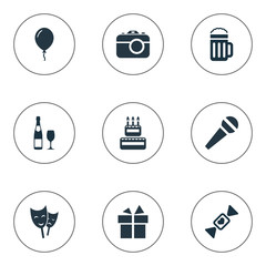 Vector Illustration Set Of Simple Birthday Icons. Elements Ribbon, Champagne, Pub And Other Synonyms Speech, Balloon And Photo.