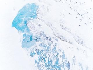 Frozen icy landscape, drone view