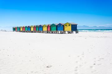 Colourful beach huts at Muizenberg, Cape Town