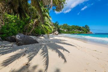 Sunny day on Carana Beach, Seychelles