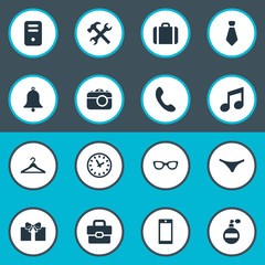 Vector Illustration Set Of Simple Accessories Icons. Elements Ring, Mobile Phone, Gift And Other Synonyms Underwear, Bag And Gift.
