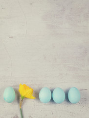 Row of blue eggs with yellow daffodil on aged wooden table desktop, retro toned