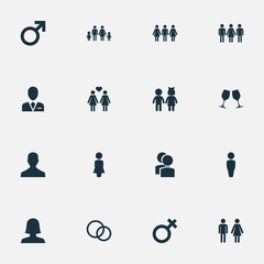 Vector Illustration Set Of Simple Lovers Icons. Elements Double, Male, Barrister And Other Synonyms Madame, Wedding And Homosexual.