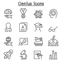 Smart, Genius, Learning & education icon set in thin line style