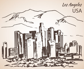 Los Angeles cityscape sketch.