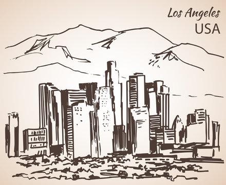 Los Angeles cityscape sketch.