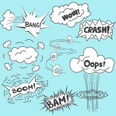 comics design elements, vector cartoon illustration