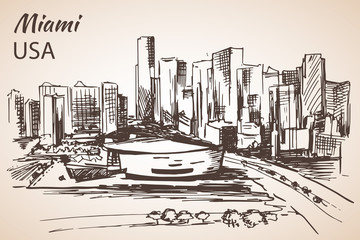 Hand drawn Miami city sketch.