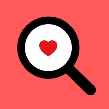 Magnifying glass and red heart as metaphor of searching and finding of love. Seeking for romantic partner and significant other through dating agency