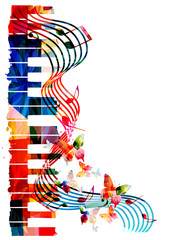 Colorful piano keyboard with music notes and butterflies isolated vector illustration. Music background for poster, brochure, banner, flyer, concert, music festival