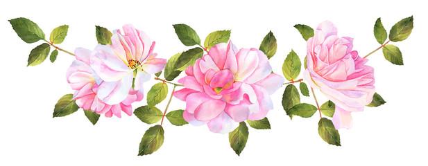 Roses watercolor decoration bouquet