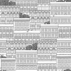 Hand drawn seamless pattern of Norwegian style houses