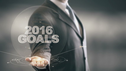 2016 Goals Businessman Holding in Hand New technologies