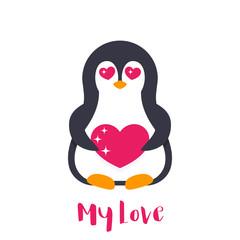 emoji with cute pinguin in love over white