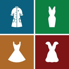 Set of 4 gown filled icons
