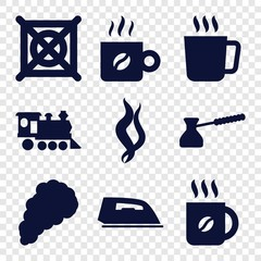 Set of 9 steam filled icons