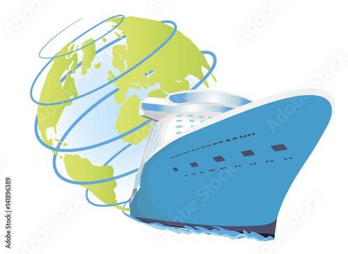 Cruise ship vector icon round world voyage logo for for All around the world cruise
