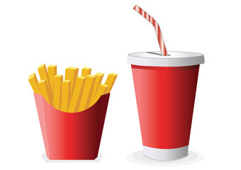 French fries and plastic drink cup