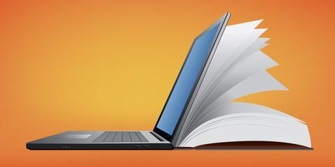 Livre - Ordinateur portable - lecture - e-learning - numérique - internet