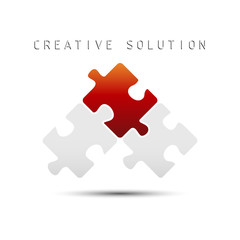 Puzzle concept creative solution icon isolated on white background