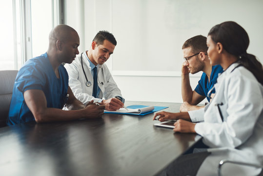 Multiracial medical team having a meeting