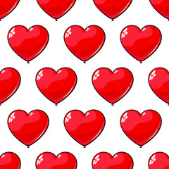 Seamless pattern of red balloons in the shape of heart. Background for love, March 8, Valentine's Day.