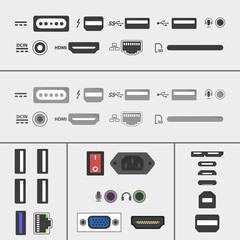 Laptop and PC connectors icons set. Power supply, USB, Ethernet, SD, HDMI, audio and video sockets. computer peripherals in flat design
